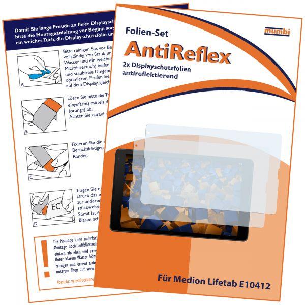 Displayschutzfolie 2 Stck. AntiReflex für Medion Lifetab E10412