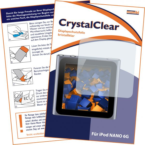 Displayschutzfolie CrystalClear für Apple iPod Nano 6G