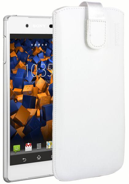 Leder Etui Tasche mit Ausziehlasche weiß für Sony Xperia Z3 Plus