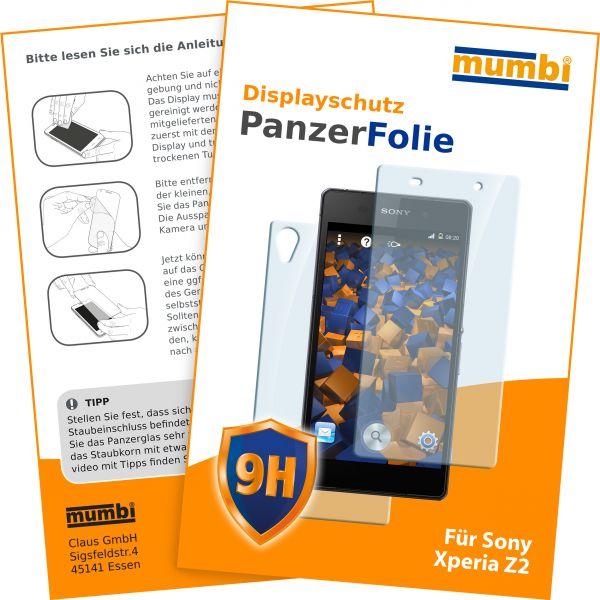 Panzerglasfolie Hartglas 9H 2Stck. für Sony Xperia Z2 (Vorder- und Rückseite)