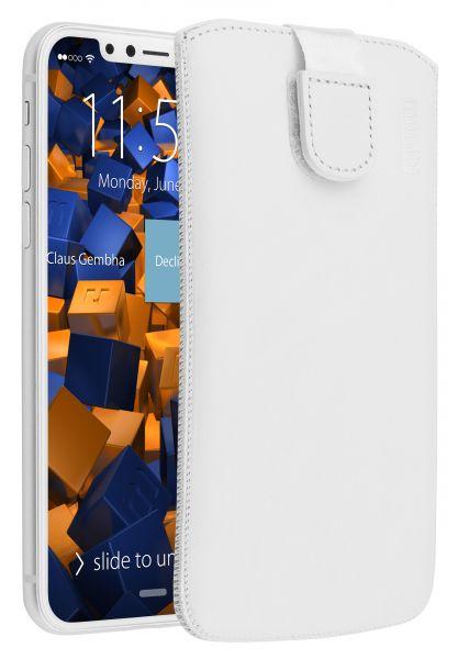 Leder Etui Tasche mit Ausziehlasche weiß für Apple iPhone XS / X