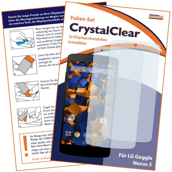 Displayschutzfolie 2 Stck. CrystalClear für LG Google Nexus 5
