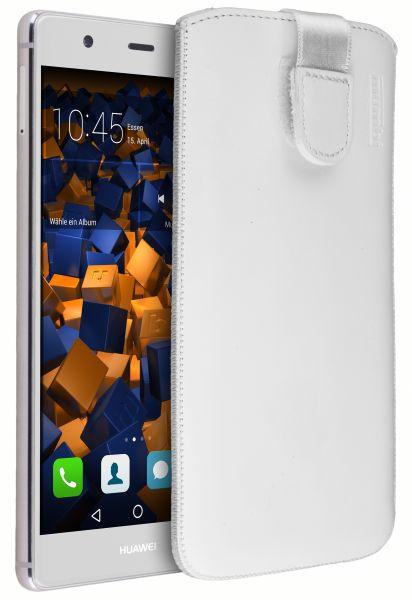 Leder Etui Tasche mit Ausziehlasche weiß für Huawei P9 Plus