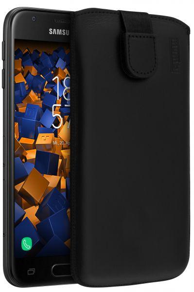 Leder Etui Tasche mit Ausziehlasche schwarz für Samsung Galaxy J3 (2017)