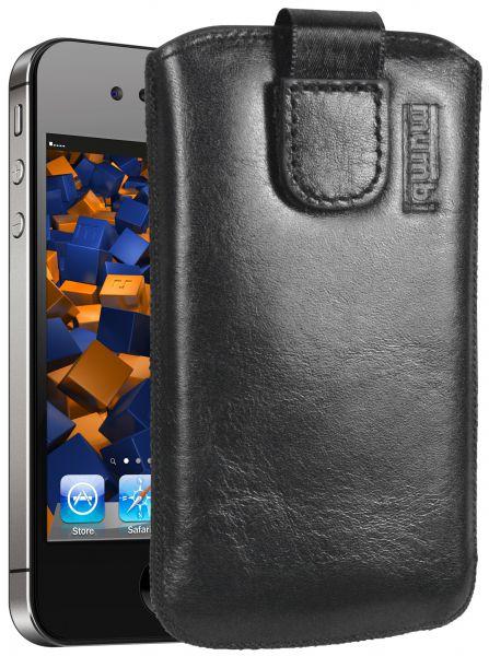 Leder Etui Tasche mit Ausziehlasche schwarz für Apple iPhone 4 / 4s