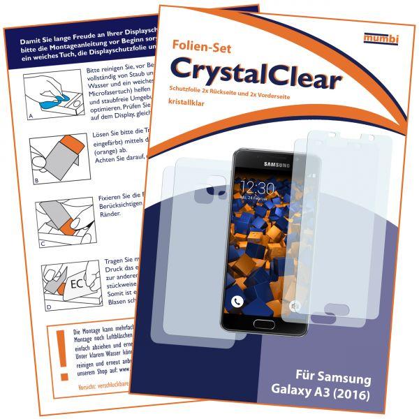 Displayschutzfolie 4 Stck. CrystalClear für Samsung Galaxy A3 (2016) (2x vorne + 2x hinten)