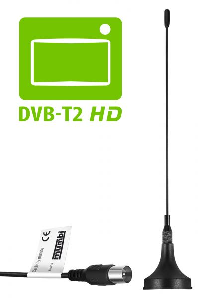 DVB T / DVB T2 HD Antenne 3dB passiv Magnetfuss