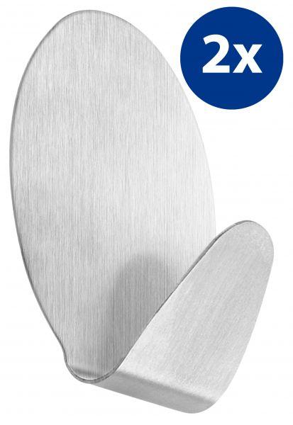 2er Set selbstklebende Handtuchhaken oval aus Edelstahl