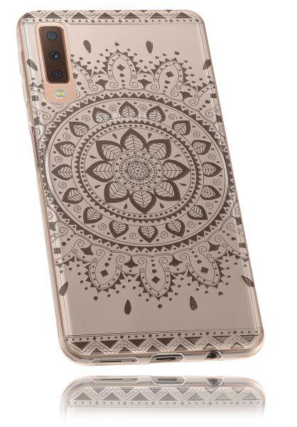 TPU Hülle transparent schwarzes Motiv Mandala für Samsung Galaxy A7 (2018)