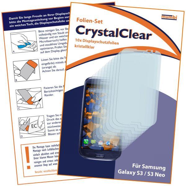 Displayschutzfolie 10 Stck. CrystalClear für Samsung Galaxy S3 / S3 Neo