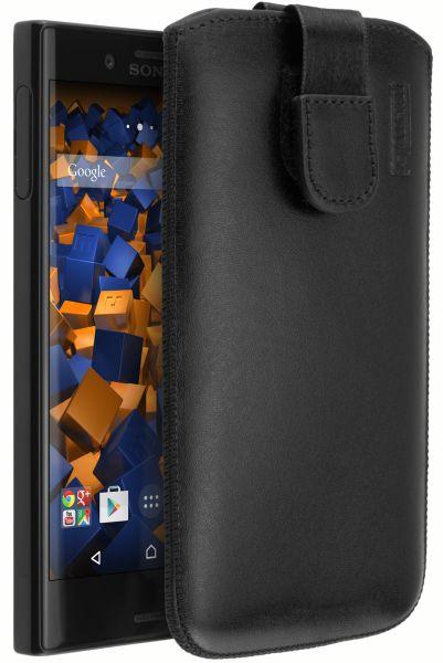 Leder Etui Tasche mit Ausziehlasche schwarz für Sony Xperia X Compact