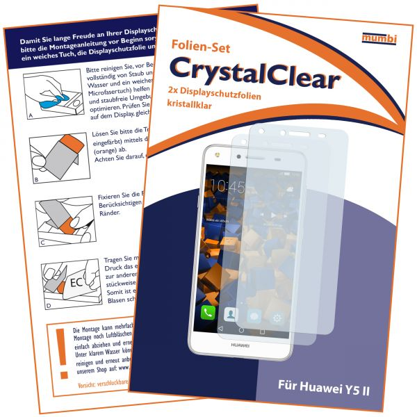Displayschutzfolie 2 Stck. CrystalClear für Huawei Y5 II