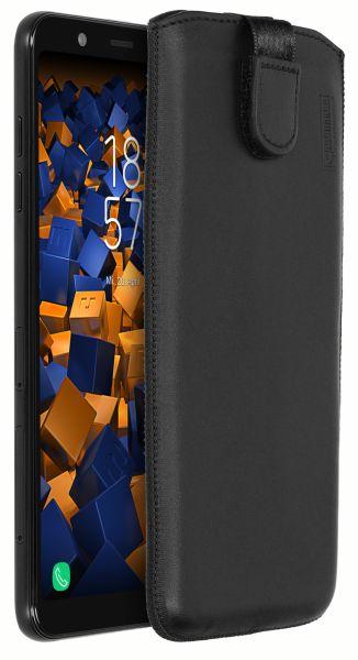 Leder Etui Tasche mit Ausziehlasche schwarz für Samsung Galaxy A6 Plus