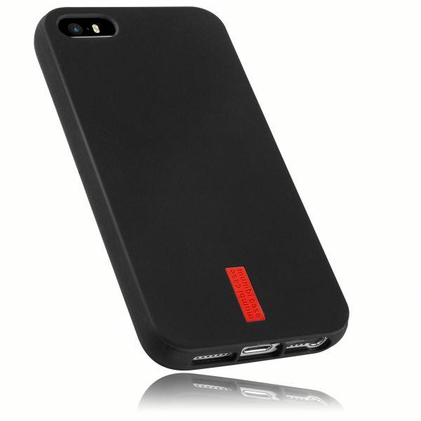 TPU Hülle schwarz mit Logo für Apple iPhone SE / 5 / 5s