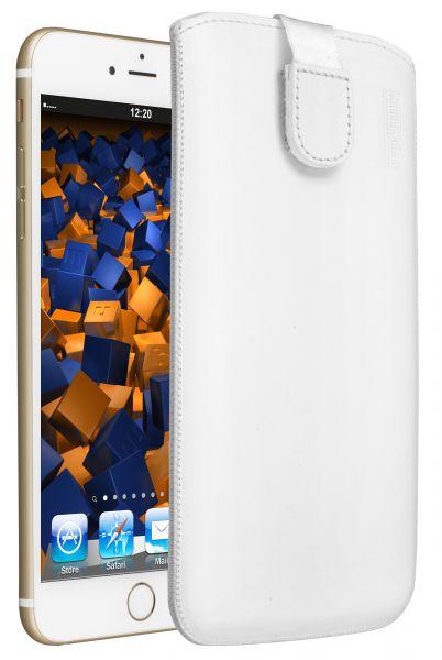 Leder Etui Tasche mit Ausziehlasche weiß für Apple iPhone 6 Plus / 6s Plus