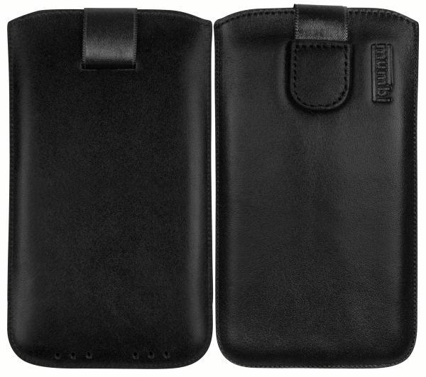 Leder Etui Tasche mit Ausziehlasche schwarz für Lenovo Moto Z2 Play