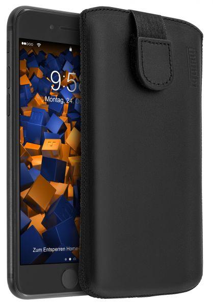 Leder Etui Tasche mit Ausziehlasche schwarz für Apple iPhone 8 / 7