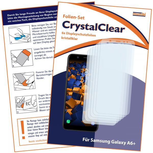 Displayschutzfolie 6 Stck. CrystalClear für Samsung Galaxy A6 Plus