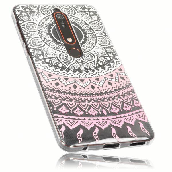 TPU Hülle Ultra Slim transparent weiß rosa Motiv Mandala für Nokia 6 (2018)