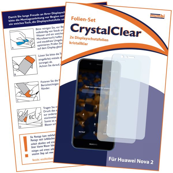 Displayschutzfolie 2 Stck. CrystalClear für Huawei Nova 2