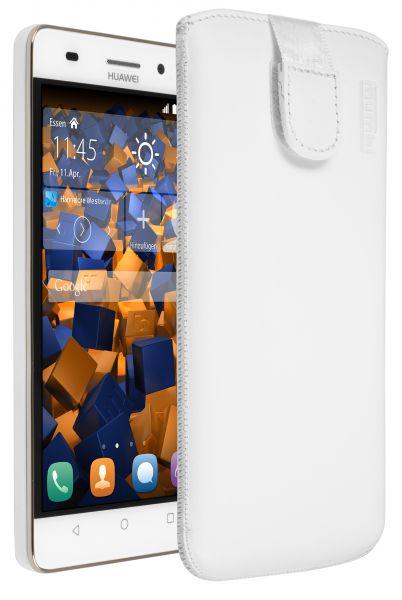 Leder Etui Tasche mit Ausziehlasche weiß für Huawei G Play mini
