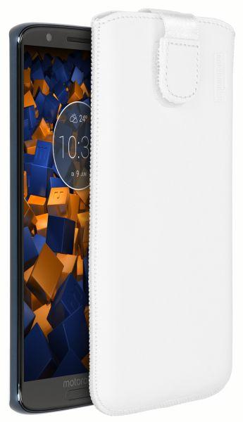 Leder Etui Tasche mit Ausziehlasche weiß für Motorola Moto G6