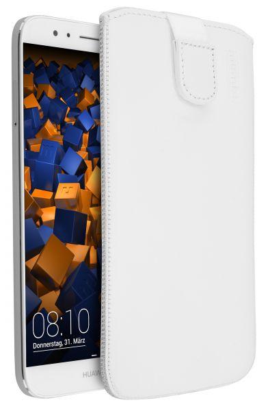 Leder Etui Tasche mit Ausziehlasche weiß für Huawei G8 / GX8