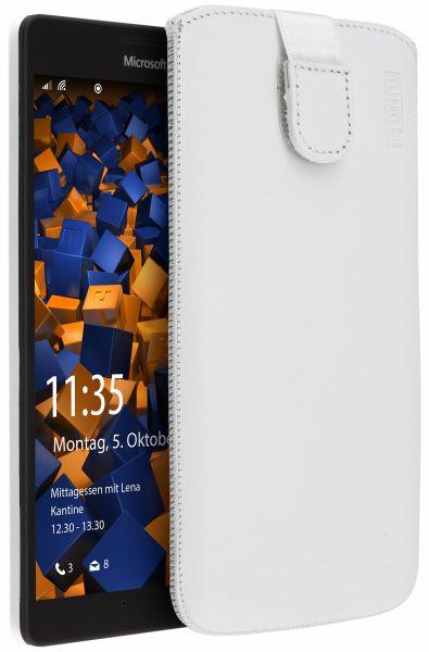 Leder Etui Tasche mit Ausziehlasche weiß für Microsoft Lumia 950 XL