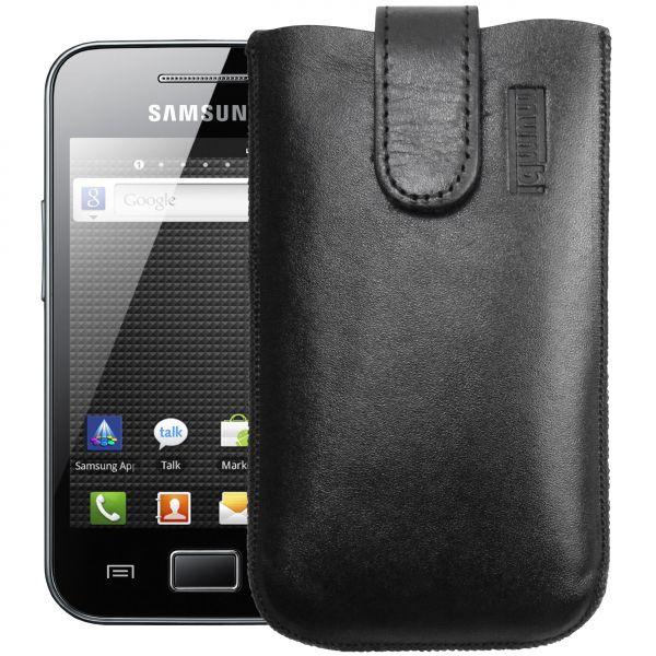 Leder Etui Tasche mit Ausziehlasche schwarz für Samsung Galaxy Ace