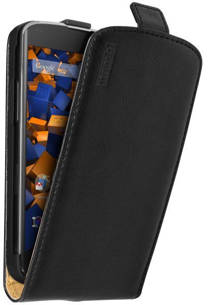 Flip Case Ledertasche schwarz für LG Google Nexus 4