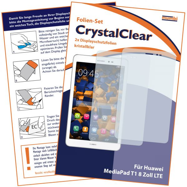 Displayschutzfolie 2 Stck. CrystalClear für Huawei Mediapad T1 8.0 LTE