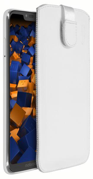 Leder Etui Tasche mit Ausziehlasche weiß für Motorola Moto G7 Power
