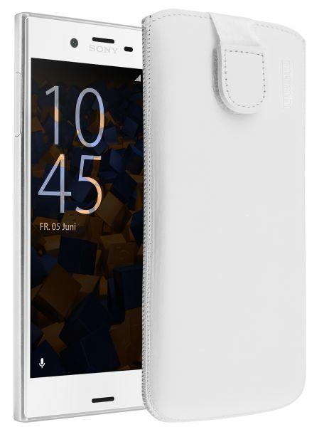 Leder Etui Tasche mit Ausziehlasche weiß für Sony Xperia XZ und XZs