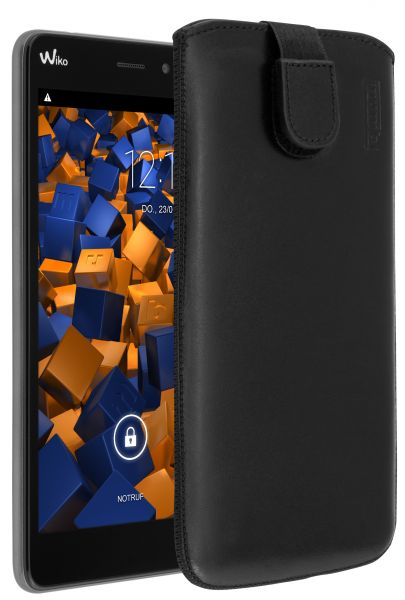 Leder Etui Tasche mit Ausziehlasche schwarz für Wiko Pulp Fab
