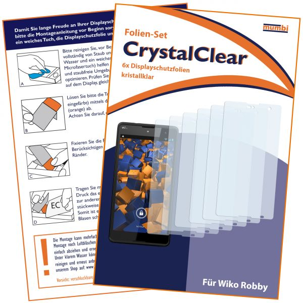 Displayschutzfolie 6 Stck. CrystalClear für Wiko Robby