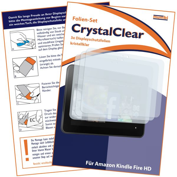Displayschutzfolie 3 Stck. CrystalClear für Amazon Kindle Fire HD (7 Zoll) (Modell 2012)