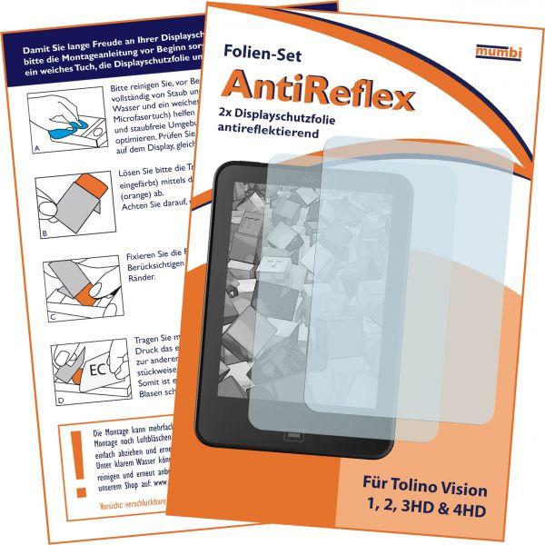 Displayschutzfolie 2 Stck. AntiReflex für Tolino Vision 1, 2, 3HD, 4HD