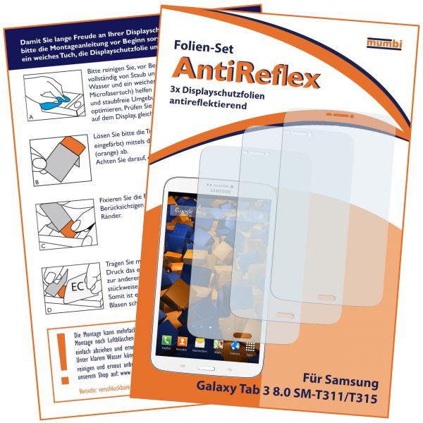 Displayschutzfolie 3 Stck. AntiReflex für Samsung Galaxy Tab 3 (8 Zoll) mit Telefonfunktion