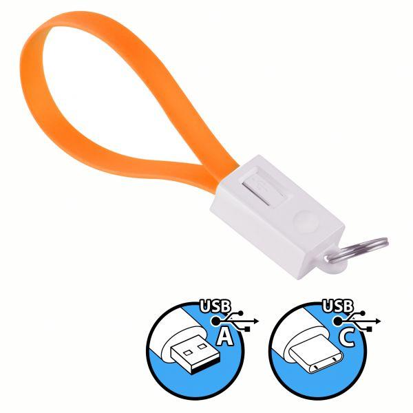 Daten- und Ladekabel USB A auf USB C Stecker Schlüsselanhänger in Orange