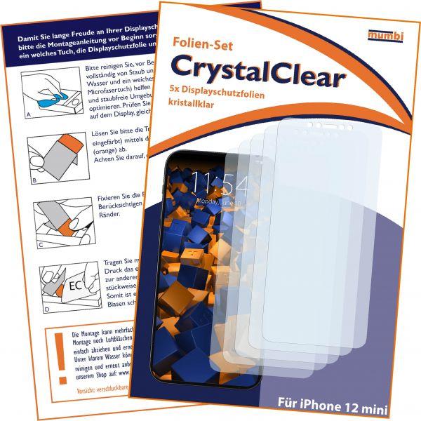 Displayschutzfolie 5 Stck CrystalClear für Apple iPhone 12 mini