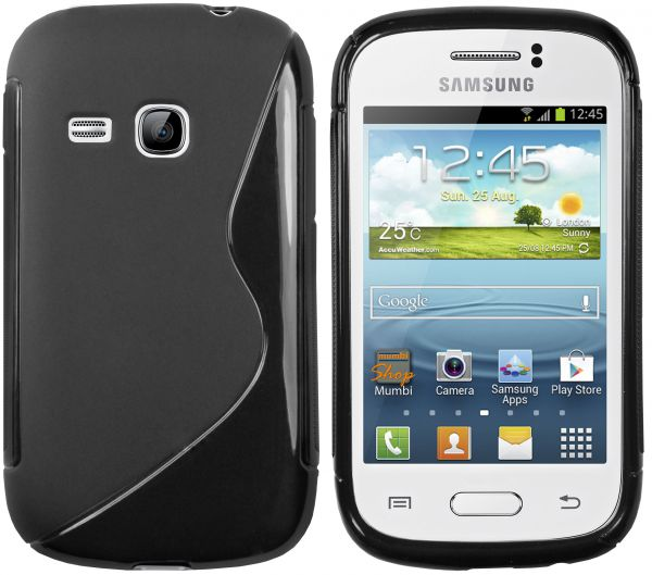 TPU Hülle S-Design schwarz für Samsung Galaxy Young / Young Duos