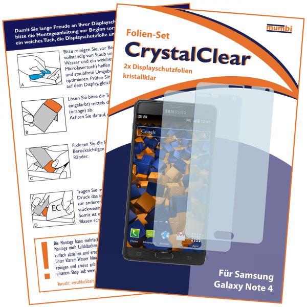 Displayschutzfolie 2 Stck. CrystalClear für Samsung Galaxy Note 4