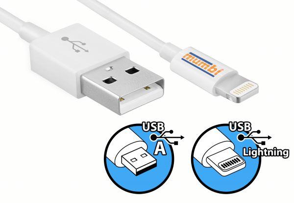 Daten- und Ladekabel USB A auf Lightning Stecker Kabel 1m für Apple Geräte