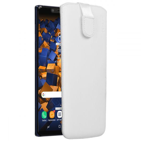 Leder Etui Tasche mit Ausziehlasche weiß für Samsung Galaxy Note 9