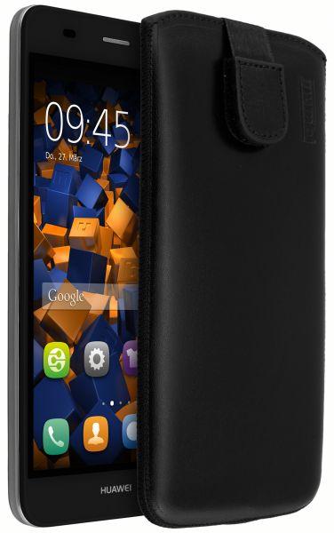 Leder Etui Tasche mit Ausziehlasche schwarz für Huawei Y6 (2015)