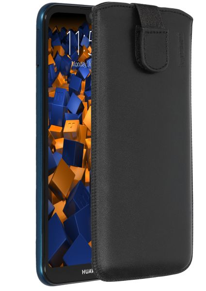 Leder Etui Tasche mit Ausziehlasche schwarz für Huawei Y5 (2019) / Honor 8S