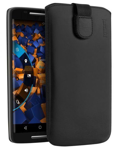 Leder Etui Tasche mit Ausziehlasche schwarz für Motorola Moto X Play