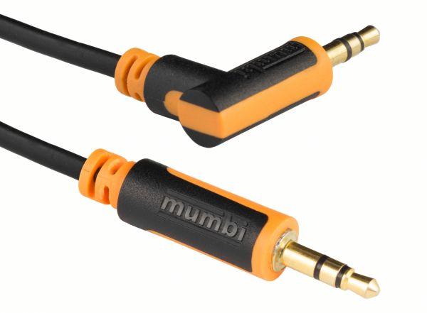 Audio Klinkenkabel 2m - 3.5mm Klinke auf 3.5mm Klinke 90° Winkel mit vergoldeten Steckern