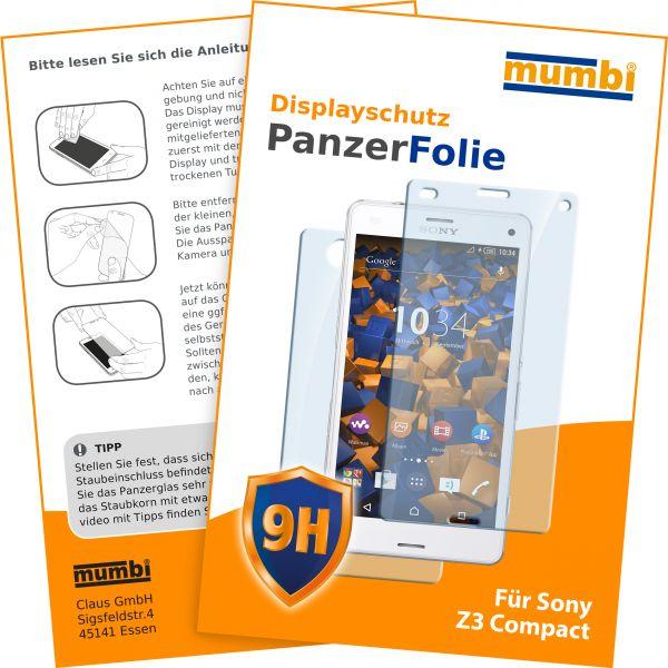 Panzerglasfolie Hartglas 9H 2Stck. für Sony Xperia Z3 Compact (Vorder- und Rückseite)