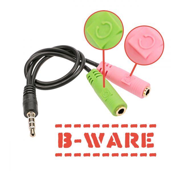B-Ware Kopfhörer Adapterkabel 2 x 3,5 mm Stereo-Klinkenbuchse auf 1 x 3,5 mm 4-poliger Klinkensteck